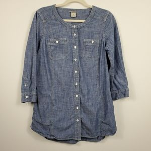 Duluth Trading Blue Jean Button Down Tunic Top